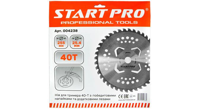 Нож для триммера 40-Т с победитовыми напайками и дополнительными лезвиями D255 мм Start Pro 4238
